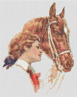 1920s Lady with Horse Cross Stitch Pattern Chart
