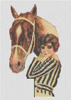 Flapper Lady With Horse Cross Stitch Pattern Chart