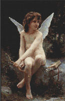 Cupid Cherub Sitting Cross Stitch Pattern Chart