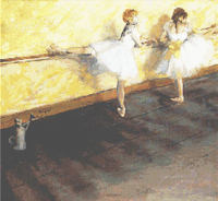 DEGAS BALLERINAS Yellow CROSS STITCH PATTERN CHART