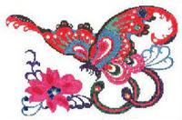 ORIENTAL Butterly & Flower CROSS STITCH PATTERN CHART