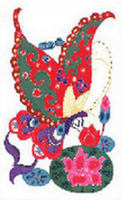 ORIENTAL Butterfly & Flowers  2 CROSS STITCH PATTERN