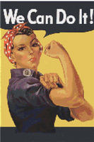 Rosie The Riveter WWII Poster Cross Stitch Pattern