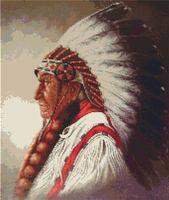 Indian Chief   Native American Cross Stitch Pattern