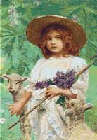 LITTLE BO PEEP With Lamb by Elsley CROSS STITCH PATTERN CHART