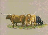 Texas Longhorn Cattle Western CROSS STITCH PATTERN