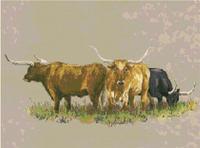 Texas Longhorn Cattle Western CROSS STITCH PATTERN