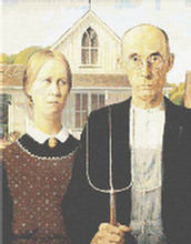 American Gothic by Grant Woods Cross Stitch Pattern