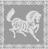 Filet Crochet Patterns - Fantasy - PEGASUS Flying Horse FILET