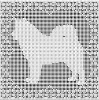 Alaskan Malamute Samoyed Dog FILET CROCHET PATTERN