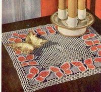 NIGHT TABLE DOILY Crochet Pattern BUTTERFLIES Vintage Reproduction Pattern