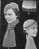1930 s SCARVES HATS PURSE Knit Crochet Pattern