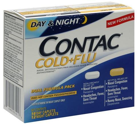 Contac Day & Night Cold Flu Dual Formula Pack Caplets 28