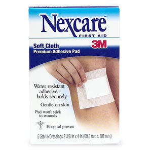 Nexcare Soft Cloth Premium Adhesive Pad 2 3/8 x 4 - 5 Ct.