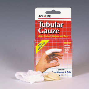 TUBULAR GAUZE WITH RUBBER COTS X 4 - PROTECT FINGERS AND