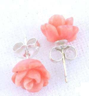 Carved coral rose earrings studs pink high quality AAA grade :  studs carved rose coral rose coral roses