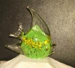 Glass paperweight angelfish figural fish green sea ocean new