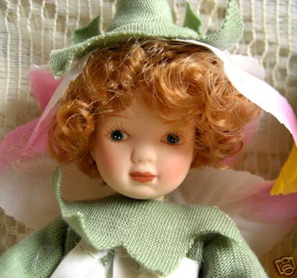 Garden flower hand painted porcelain doll yellow pixie nib