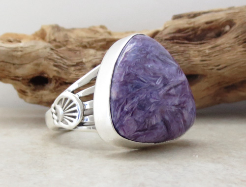 Image 3 of Navajo Made Charoite & Sterling Silver Ring size 9.25 - 1391sn