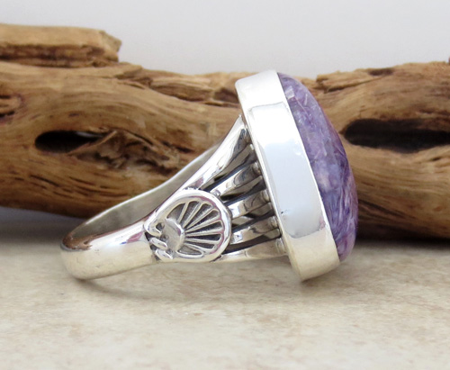 Image 4 of Navajo Made Charoite & Sterling Silver Ring size 9.25 - 1391sn