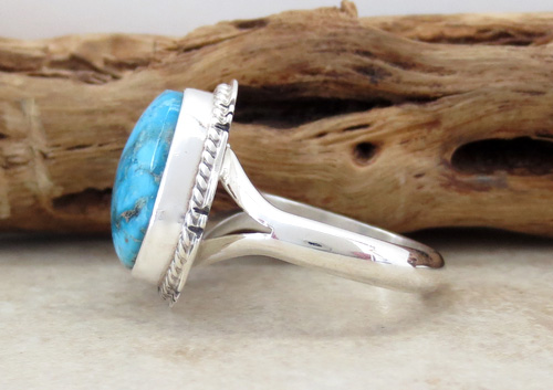 Image 4 of     Small Navajo Made Turquoise & Sterling Silver Ring size 7 - 0871sn