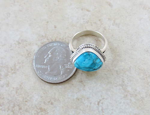 Image 5 of     Small Navajo Made Turquoise & Sterling Silver Ring size 7 - 0871sn
