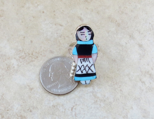 Image 5 of    Zuni Made Maiden Turquoise Inlay Ring size 7 - 1439rio