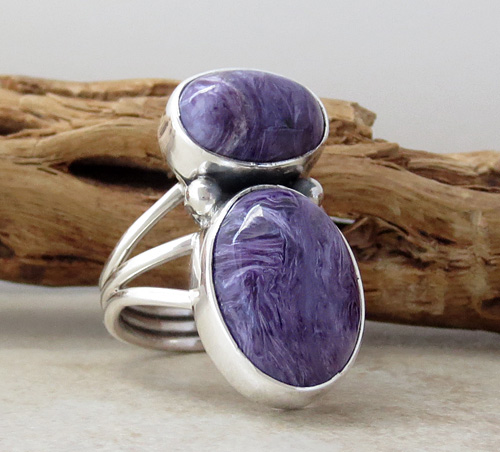 Image 3 of     Navajo Made Sterling Silver & Charoite Ring size 9 - 1082sn