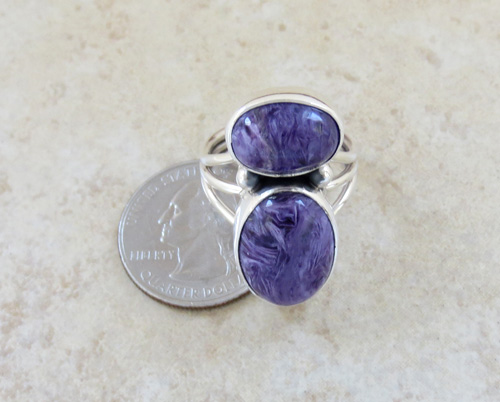Image 5 of     Navajo Made Sterling Silver & Charoite Ring size 9 - 1082sn