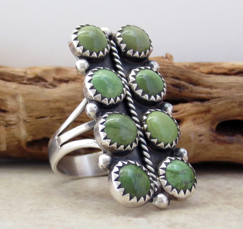 Image 3 of    Green Turquoise & Sterling Silver Ring size 7.5 Navajo Made - 1134rio