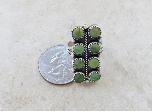 Image 5 of    Green Turquoise & Sterling Silver Ring size 7.5 Navajo Made - 1134rio