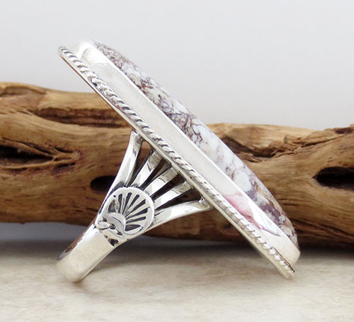 Image 4 of         Native American Wild Horse Stone & Sterling Silver Ring size 10 - 2179sn