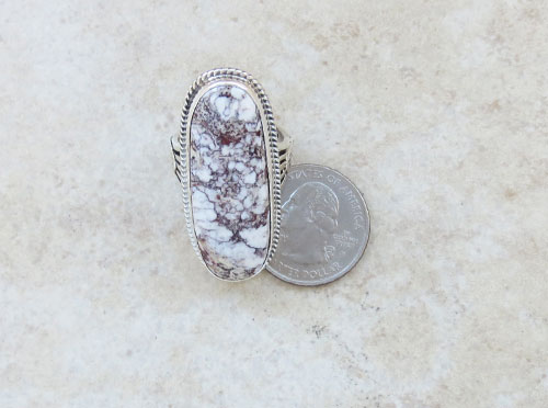 Image 5 of         Native American Wild Horse Stone & Sterling Silver Ring size 10 - 2179sn