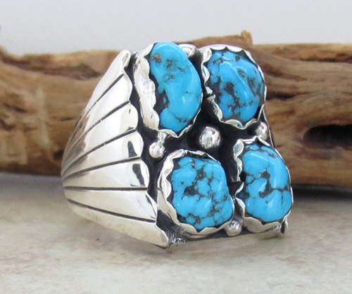 Image 3 of       Navajo Made Turquoise & Sterling Silver Nugget Ring size 10.75 - 1736sn