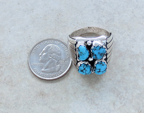 Image 5 of       Navajo Made Turquoise & Sterling Silver Nugget Ring size 10.75 - 1736sn