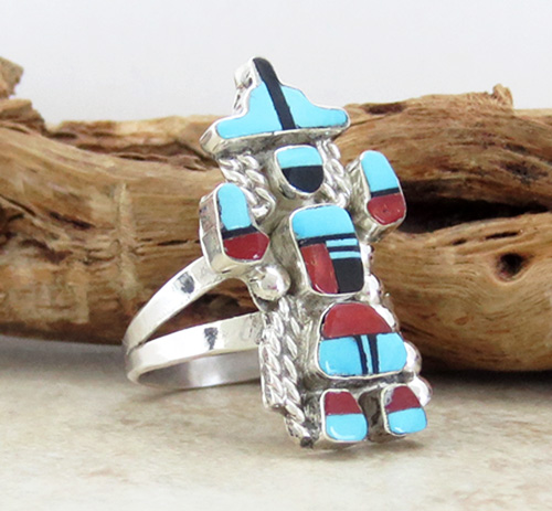 Image 3 of   Rainbow Man Turquoise & Sterling Silver Ring size 7.25 Zuni - 1839pl