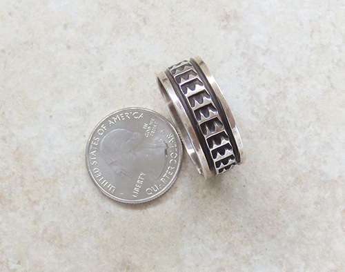 Image 3 of Old Sterling Silver Ring sz 17 Navajo Made - 1857vt
