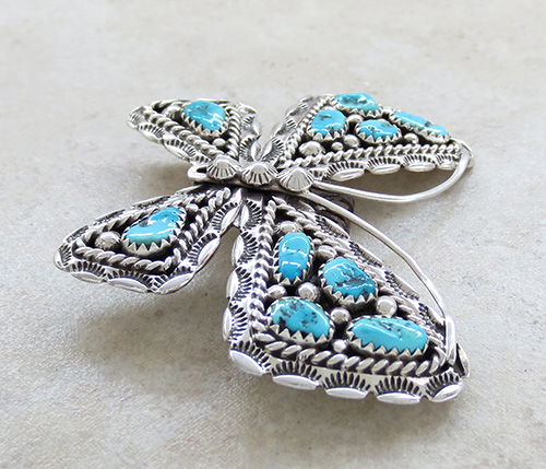 Image 3 of     Turquoise & Silver Butterfly Pendant Navajo Made