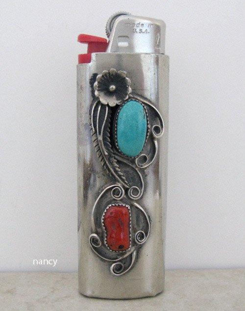 Vintage Nickel Turquoise Coral Lighter Case - 0591vt