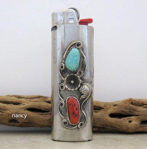 Vintage Nickel Turquoise Coral Lighter Case - 0921vt