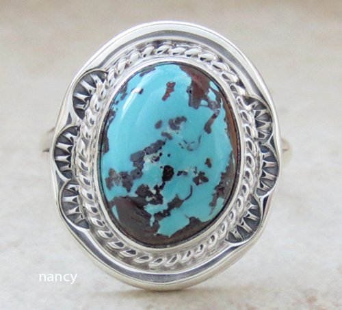 Small Turquoise & Sterling Silver Ring size 6.5 Navajo Made - 0466sn