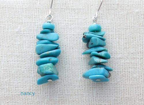 Native American Made # 8 Mine Turquoise Earrings - 0357sn