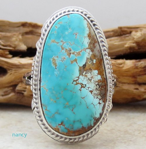 Navajo Made Turquoise & Sterling Silver Ring size 9 - 0146sn