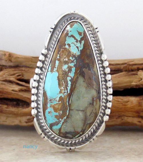 Navajo Made Turquoise & Sterling Silver Ring size 9 - 1397sn