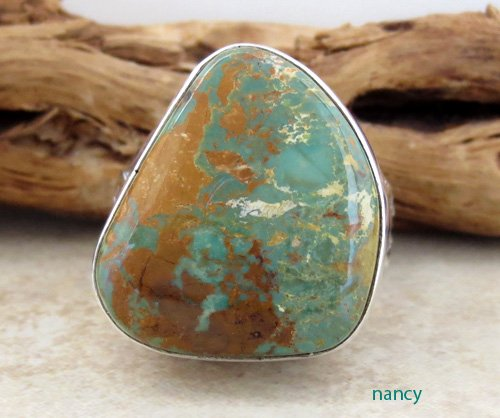 Navajo Made Turquoise & Sterling Silver Ring size 9 - 1270sn