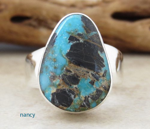 Navajo Made Turquoise & Sterling Silver Ring size 9 - 1296sn