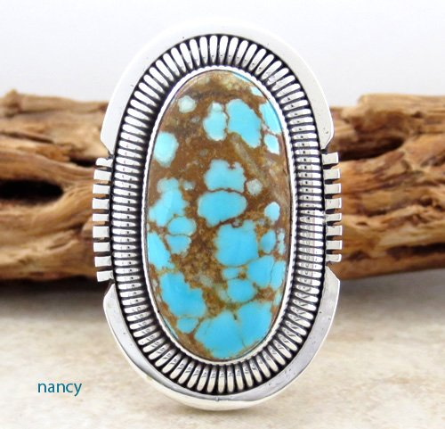 Navajo #8 Turquoise & Sterling Silver Ring size 7  - 0862sn