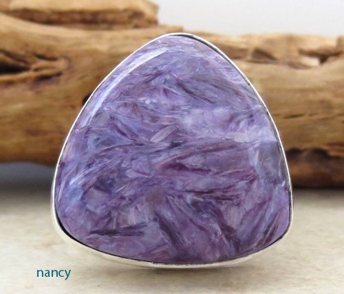 Navajo Made Charoite & Sterling Silver Ring size 9.25 - 1391sn