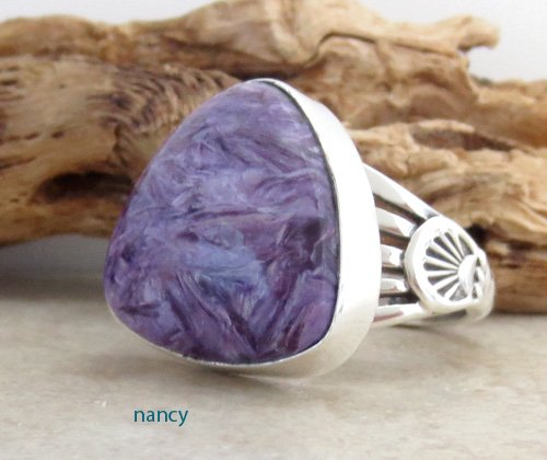 Image 1 of Navajo Made Charoite & Sterling Silver Ring size 9.25 - 1391sn