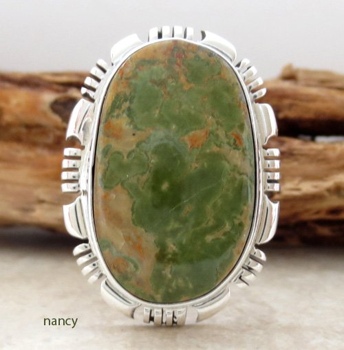 Green Turquoise & Sterling Silver Ring Size 9 Navajo Made - 1193at
